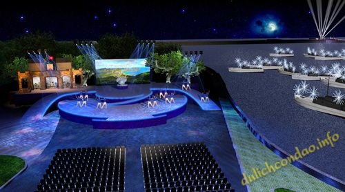 Mô hình sân khấu sẽ diễn ra lễ công bố và đón Bằng xếp hạng Di tích Quốc gia đặc biệt Nhà tù Côn Đảo